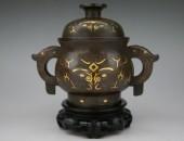 銅製金銀象饕餮文嵌香炉 (1)
