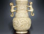 明彩獅子耳瓶 (1)