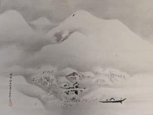 狩野探幽 雪中山水図 法印探幽行年六十七歳筆 掛け軸 買取り 買取専門店 くらや松戸店