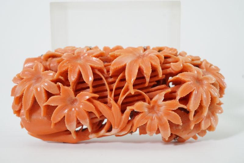桃色珊瑚 帯留め 楓文彫刻 買取 買取専門店 くらや松戸店